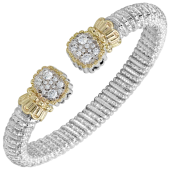 Vahan Sterling Silver and 14K Yellow Gold 8mm  .82ctw Diamond Open Cuff Bracelet