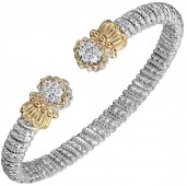 VAHAN STERLING SILVER AND 14K  GOLD .34CTW DIAMOND 6MM OPEN CUFF BRACELET