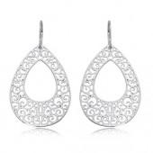 Sterling Silver Gypsy Swirl Teardrop Earrings