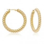 14K YELLOW GOLD LARGE TWISTED HOOP EARRINGS