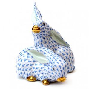 Blue Ceramic Rabbits