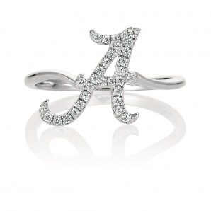 University of Alabama 14K White Gold Spirit A Diamond Ring (size 6)