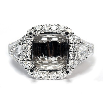18K White Gold Semi-Mount Engagement Ring