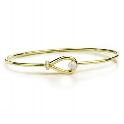 18K Yellow Gold Jade Trau Diamond Bangle Bracelet