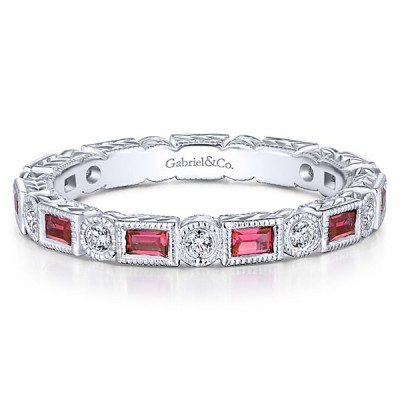 Gabriel 14K White Gold Ruby and Diamond Eternity Band