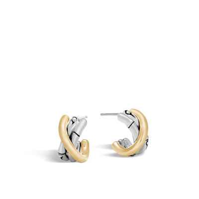 John Hardy Bamboo 18K Gold & Silver J Hoop Earrings (Length 17mm)