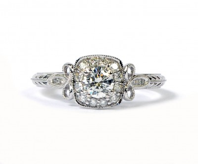 Forevermark 14K White Gold Vintage Style Halo Engagement Ring