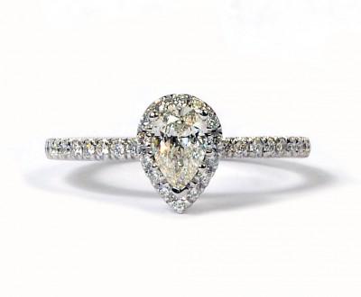Forevermark 14K White Gold Pear Cut Diamond Halo Engagement Ring