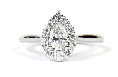 Platinum 0.50 Forevermark Pear 0.27 CTW Diamond Ring