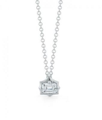 Jade Trau 18K White Gold Forevermark Emerald Diamond Pendant