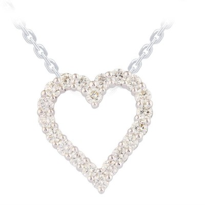 14K White Gold 0.75 CTW Diamond Heart Pendant