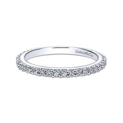 14K White Gold 0.22CTW Diamond Stackable Band