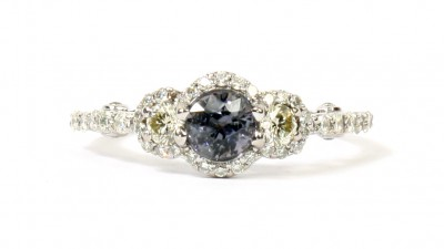 18K White Gold Color-Change Spinel and Diamond Ring