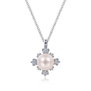 14K White Gold Pearl and 0.30 CTW Diamond Necklace