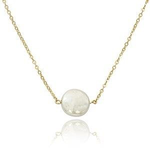 14K Yellow Gold Coin Pearl Necklace