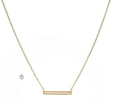 SS/YGP CZ Bar Necklace