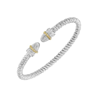 3mm Wide Vahan Sterling Silver and 14K Yellow Gold Diamond Cuff Bracelet