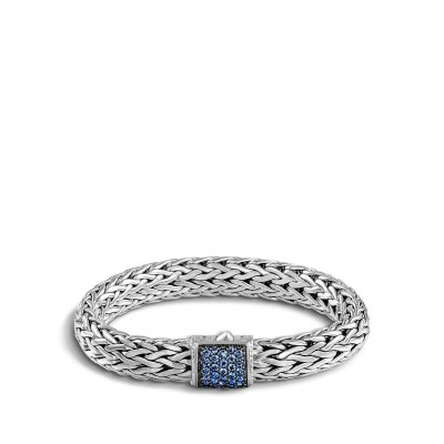 John Hardy Classic Chain Sterling Silver Lava Bracelet with Sapphire Clasp