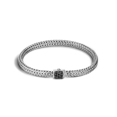 John Hardy Classic Silver Lava Bracelet with Black Sapphire Size Med