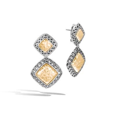 John Hardy Classic Chain Hammered Gold and Sterling Silver Heritage Drop Earrings