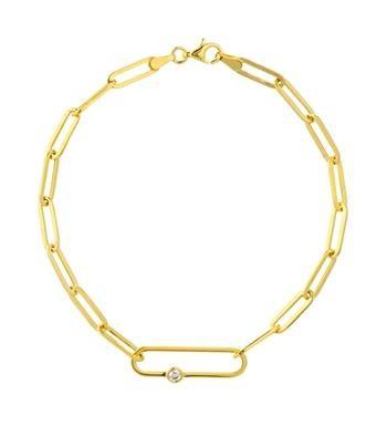 14K Yellow Gold 0.05 CT Diamond Paperclip Chain Bracelet