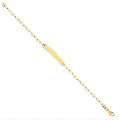 14K Yellow Gold Engravable Paperclip Bar Bracelet