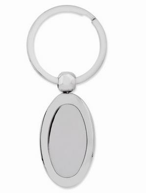 Nickel-Plated Polished Oval Key Ring