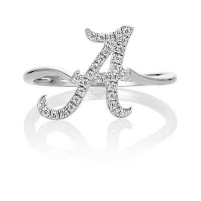 University of Alabama 14K White Gold Spirit A Diamond Ring (size 6)