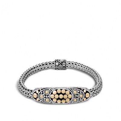 Women's Dot Collection Gold and Silver Oval Station Bracelet