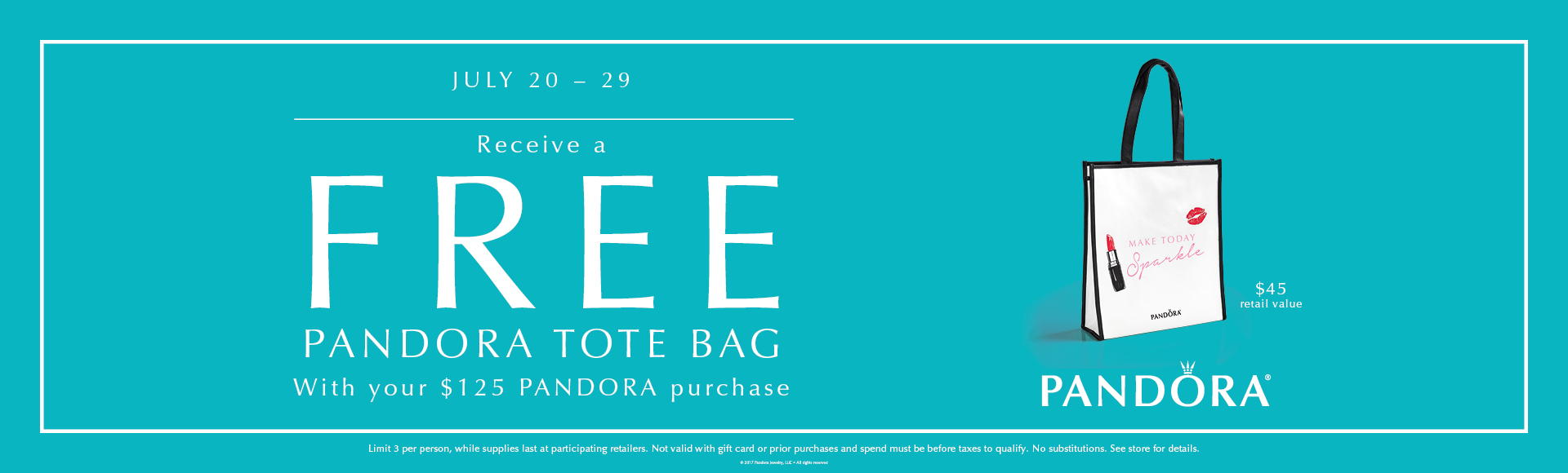 Pandora Free Tote Bag GWP Event!