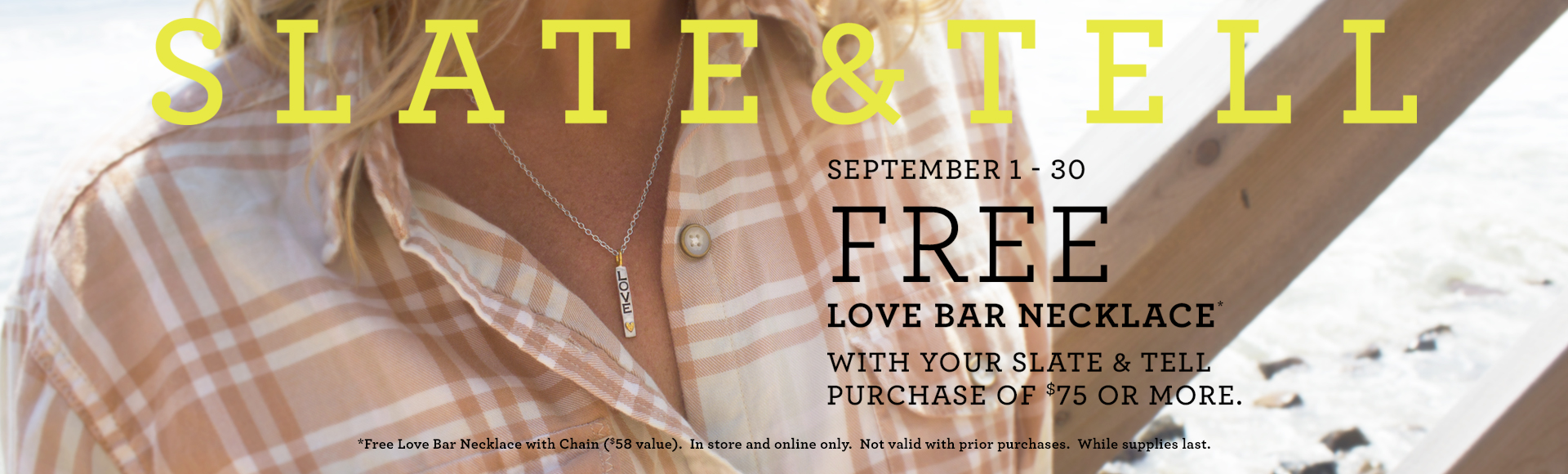 Slate and Tell Free Love Bar Necklace!