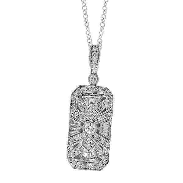 Effy 14k White Gold Art Deco Style Diamond Pendant 130 12633