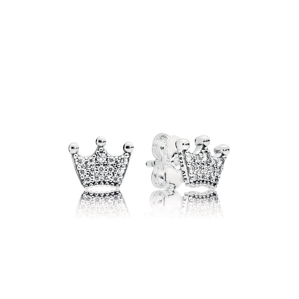 Enchanted Crowns Stud Earrings, Clear CZ