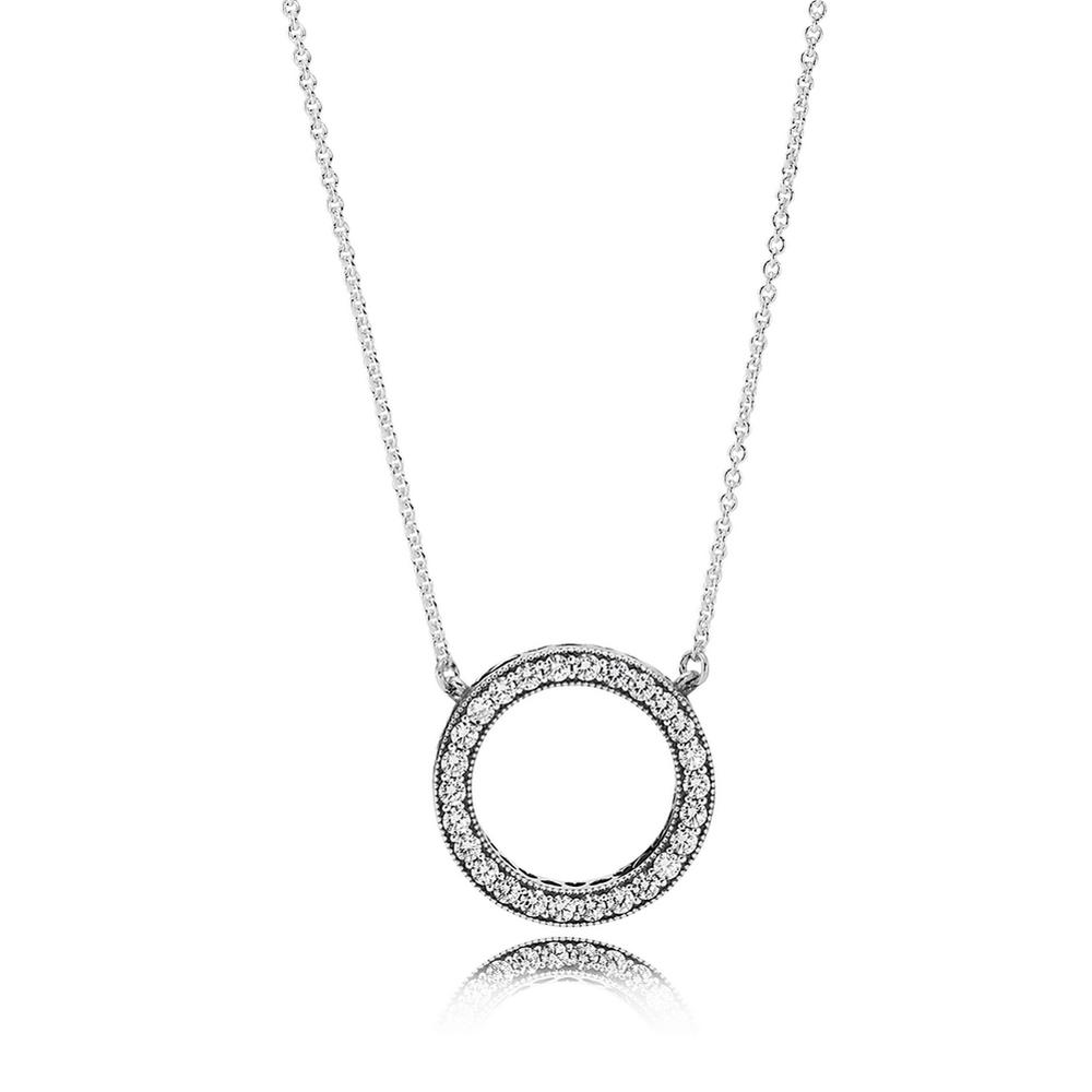 Hearts of Pandora Pendant Necklace, Clear CZ