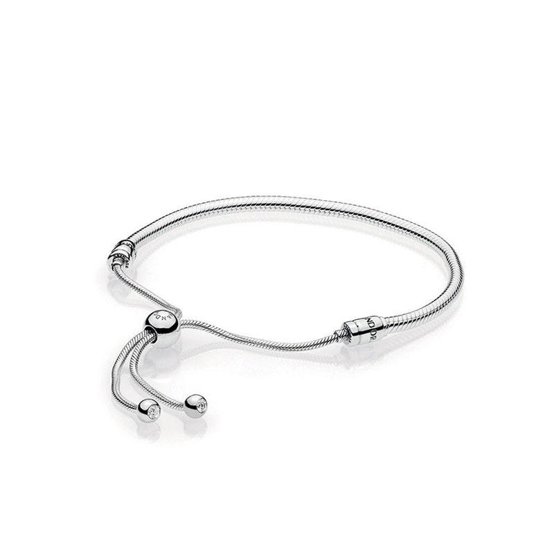 Sterling Silver Sliding Bracelet, Clear CZ