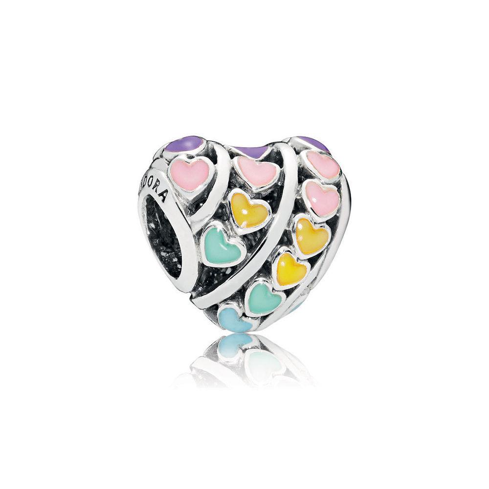 Multi-Color Hearts Charm, Mixed Enamel